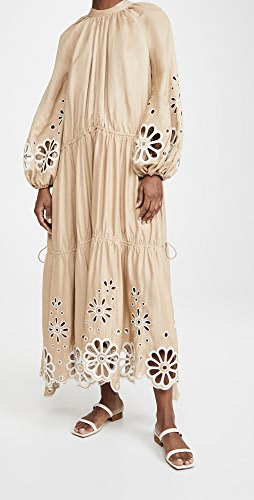 Jonathan Simkhai - Anisa Oversized Broderie Anglaise Cascade Slit Midi Dress