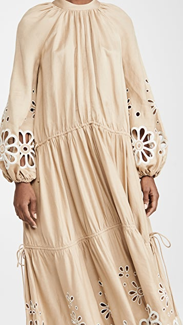 Jonathan Simkhai Anisa Oversized Broderie Anglaise Cascade Slit Midi Dress