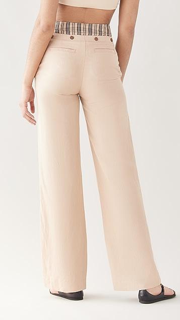 Jonathan Simkhai Janella Tailoring Double Waist Pants