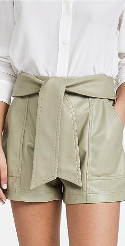 Jonathan Simkhai - Mari Vegan Leather Tie Waist Shorts