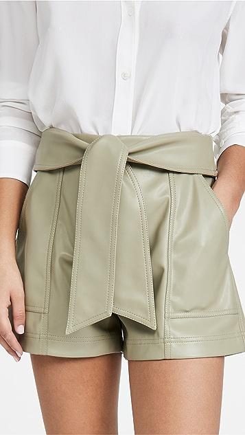Jonathan Simkhai Mari 人造皮绑带腰部短裤