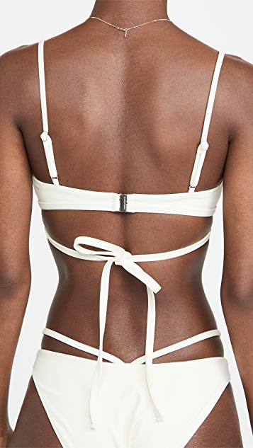 Jonathan Simkhai Harlen Solid Tie Front Bikini Top