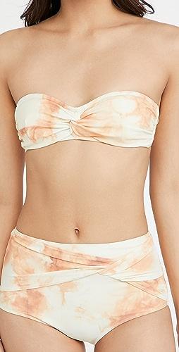 Jonathan Simkhai - Scarlette Tie Dye Twisted Bandeu Bikini Top
