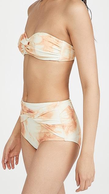 Jonathan Simkhai Scarlette Tie Dye Twisted Bandeu Bikini Top
