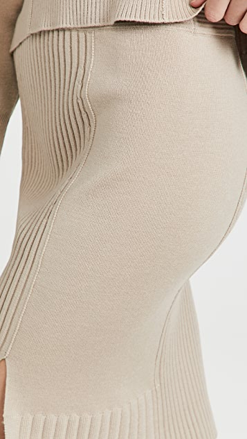 Jonathan Simkhai Martha Recycled Knitwear High Low Skirt
