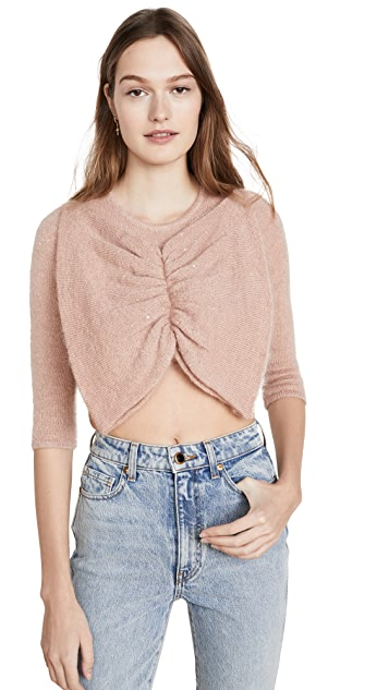 JoosTricot Bow Crop Mohair Sweater
