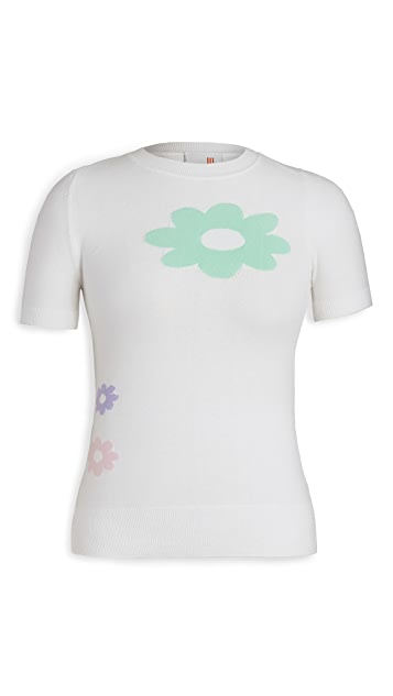JoosTricot Intarsia Flower Short Sleeve Crew Neck
