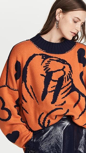 JoosTricot Unisex Mock Neck Walrus Reversible Sweater