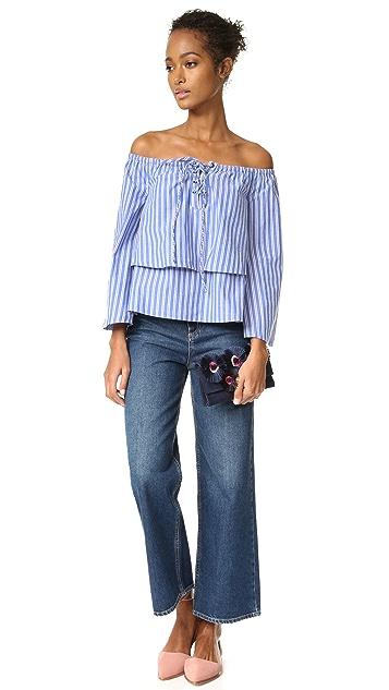 J.O.A. Stripe Shirting Blouse