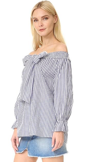 J.O.A. Stripe Off Shoulder Blouse