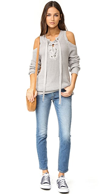 J.O.A. Cold Shoulder Lace Up Sweater
