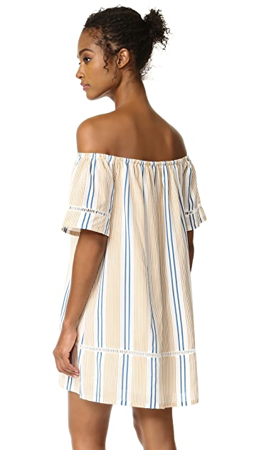 J.O.A. Stripe Off The Shoulder Dress