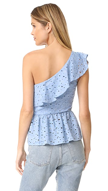 J.O.A. One Shoulder Lace Top