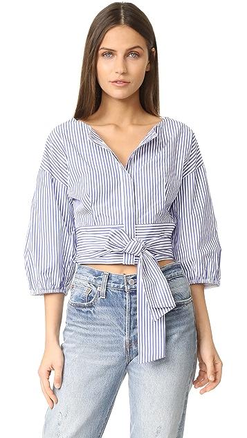 J.O.A. Puff Sleeve Stripe Blouse