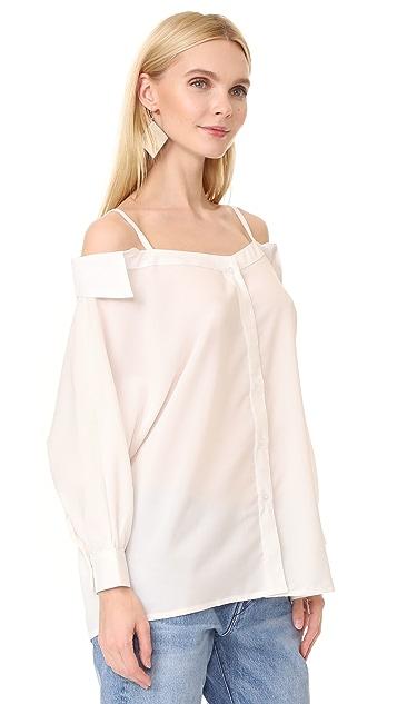 J.O.A. Loose Fit Cold Shoulder Shirt