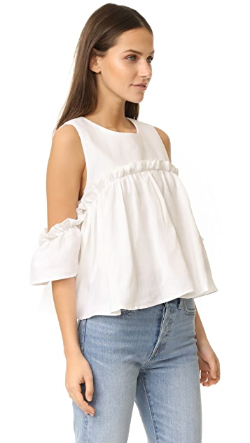 J.O.A. Layered Ruffle Cold Shoulder Top