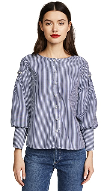 J.O.A. Imitation Pearls & Stripes Blouse