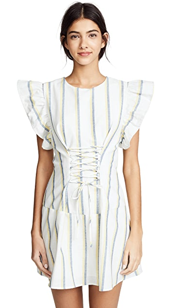 J.O.A. Stripe Lace Up Dress