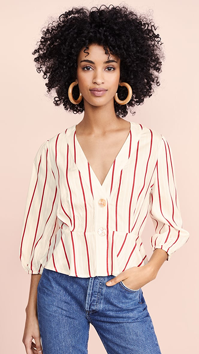 Womens Red Stripe Blouse J.O.A