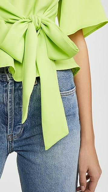 J.O.A. Неоновая желто-зеленая блуза