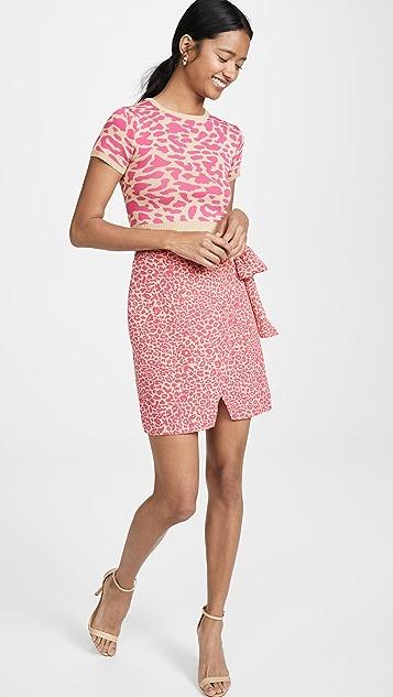 J.O.A. Юбка с розовым леопардовым принтом