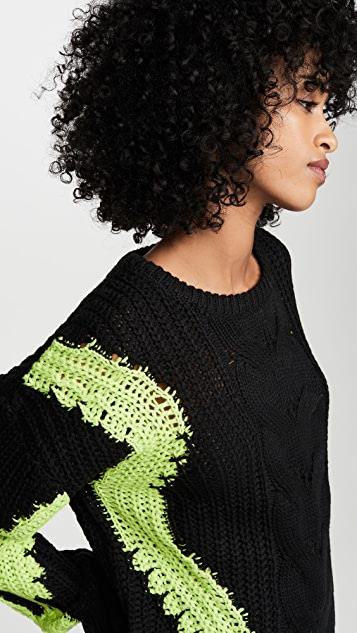 J.O.A. Contrast Cable Knit Sweater