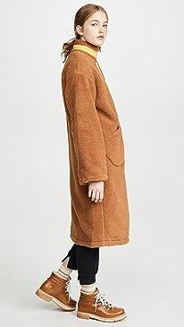 Zip Up Long Teddy Jacket