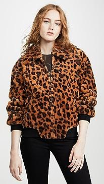 Leopard Faux Fur Bomber