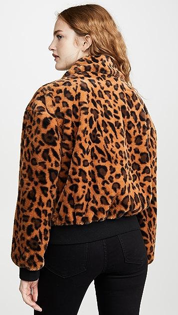 J.O.A. Leopard Faux Fur Bomber Jacket