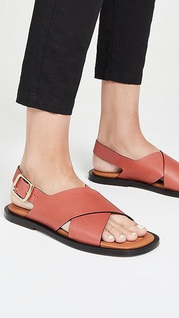 Joseph 皮交叠凉鞋