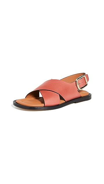 Joseph Leather Crisscross Sandals