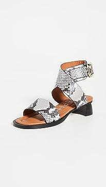 Block Heel Wrap Sandals