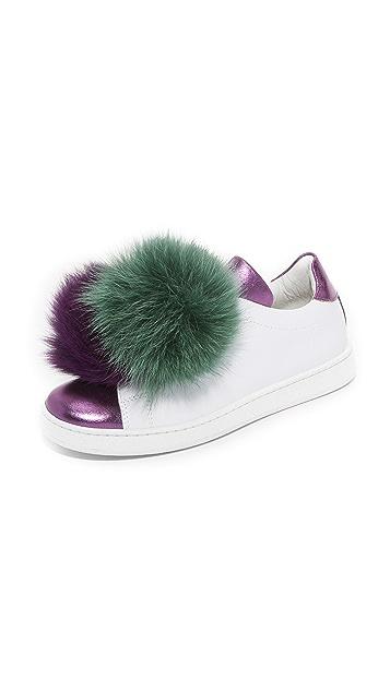 JOSHUA SANDERS Leather Sneakers with Fox Fur Gr. EU 40