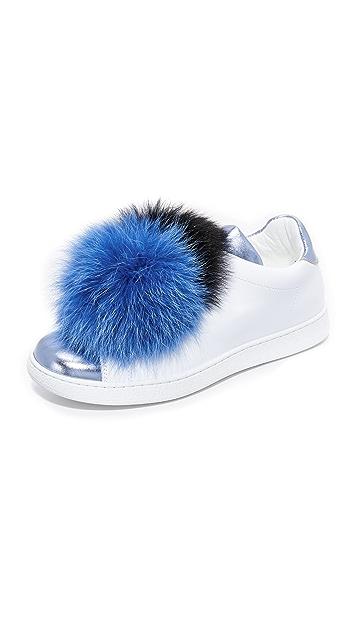 JOSHUA SANDERS Leather Sneakers with Fox Fur Gr. EU 40 QoT0LjV