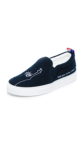 JOSHUA SANDERS Platform Slip On Sneakers with Embroidered Fabric Gr. EU 38 7RE2eqk
