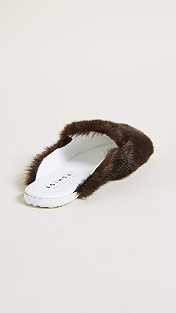 Joshua Sanders Eco Fur Mules