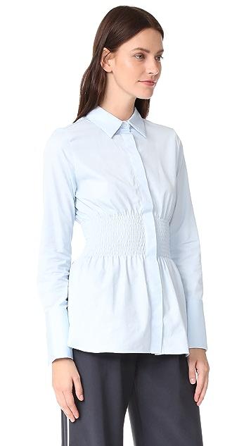 JOUR/NE Smocked Waist Shirt