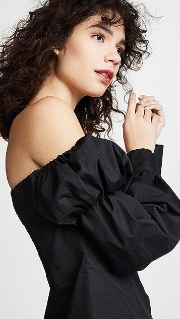 Anais Jourden Топ из ткани в рубчик с открытым плечом