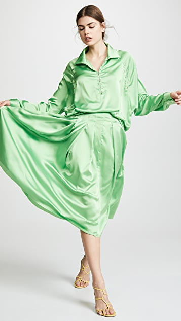 Anais Jourden Satin Pleated Midi Skirt