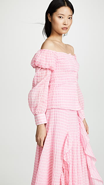 Jourden Striped Lolita Off Shoulder Top