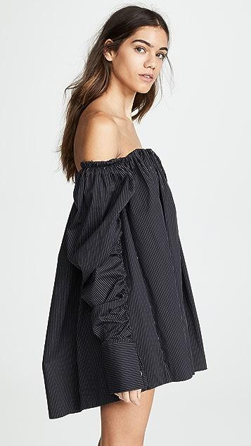 Anais Jourden Pinstripe Off Shoulder Mini Dress