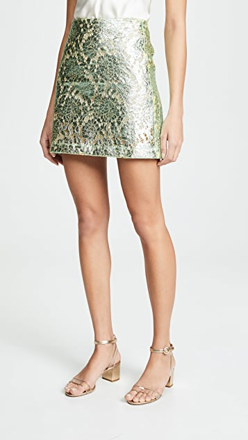 Jourden Metallic Miniskirt - Mint