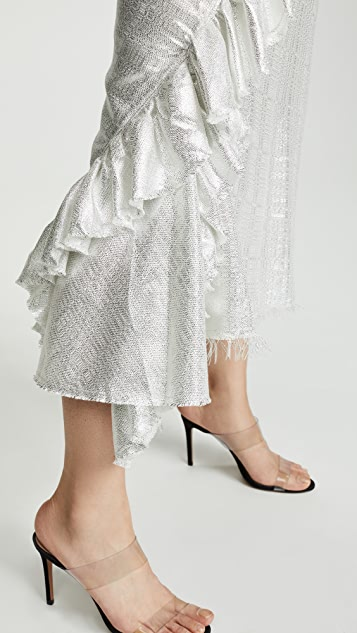 Anais Jourden Silver Bias Midi Skirt