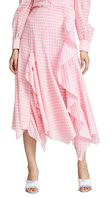 Jourden Striped Midi Skirt with Ruffle