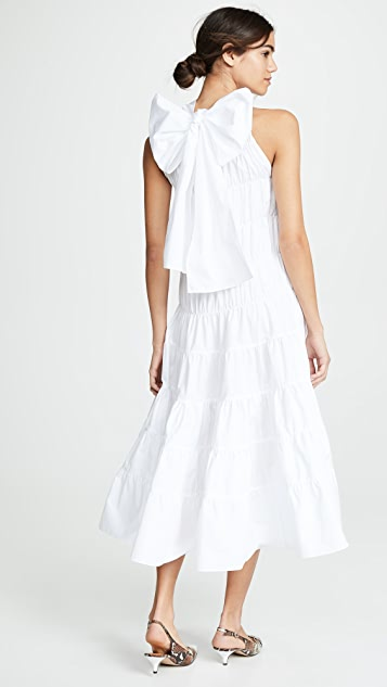 Jourden Gathered Midi Dress with Back Tie