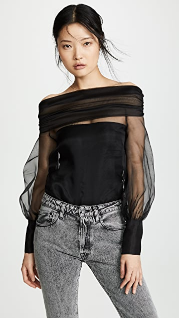 Anais Jourden Organza Off Shoulder Top