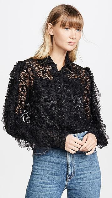 Anais Jourden 荷叶边黑色天鹅绒蕾丝衬衫