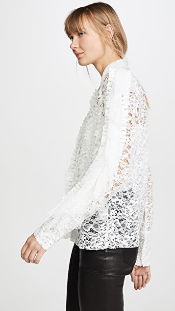Anais Jourden 荷叶边白色天鹅绒蕾丝衬衫