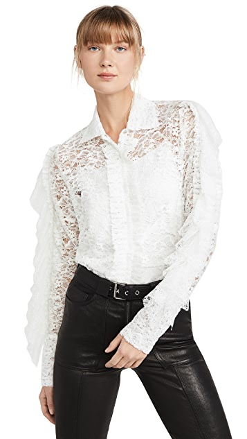 Anais Jourden Белая рубашка из бархата и кружева с оборками