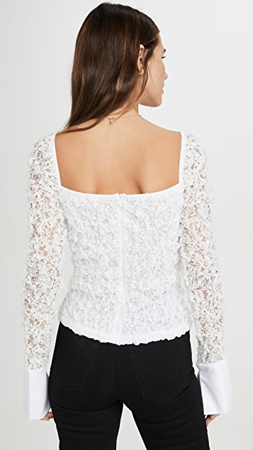 Anais Jourden White Crushed Lace Bustier with Poplin Cuffs